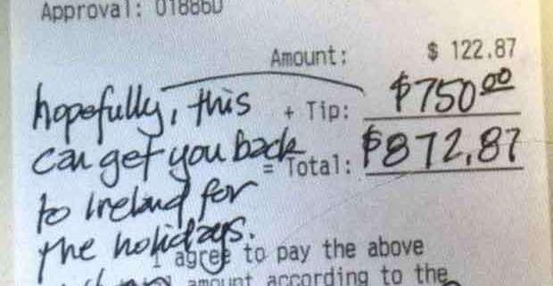 Texas, cameriere irlandese riceve una mancia da 750 dollari